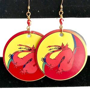 💄Boutique Handmade Matching Dragon POG Earrings